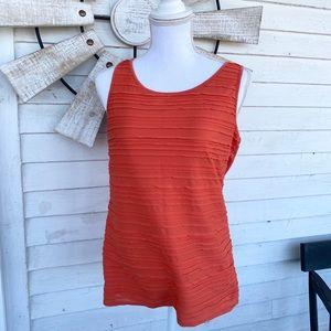 Ann Taylor Orange Pintuck Work Tank